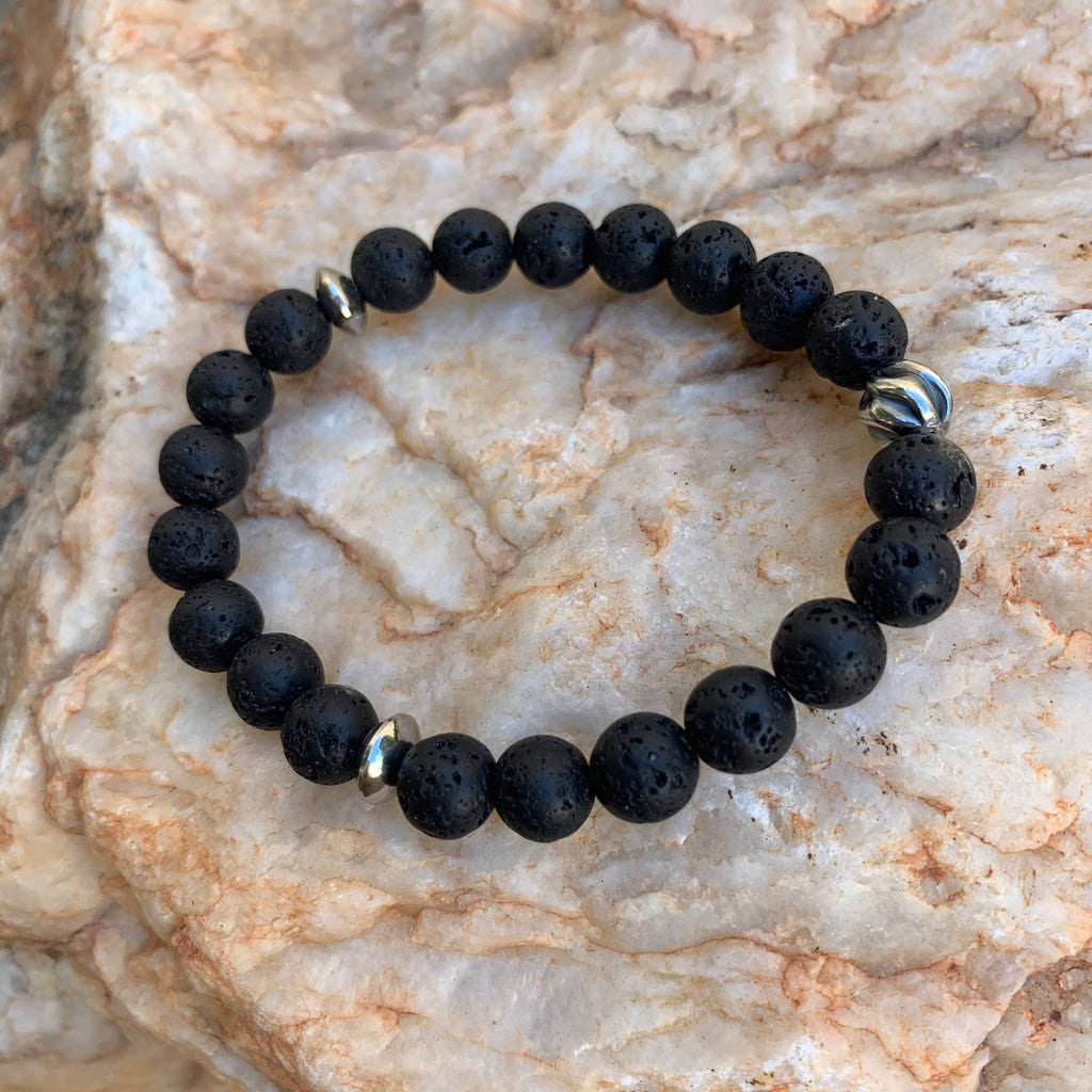 Unisex/Men's - Black Lava Bracelet on Elastic