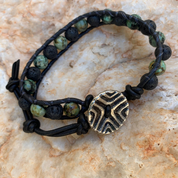 Unisex/Men's - African Turquoise & Black Lava Single Wrap Bracelet