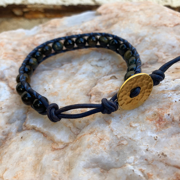 Unisex/Men's - Blue Tiger Eye Single Wrap Bracelet