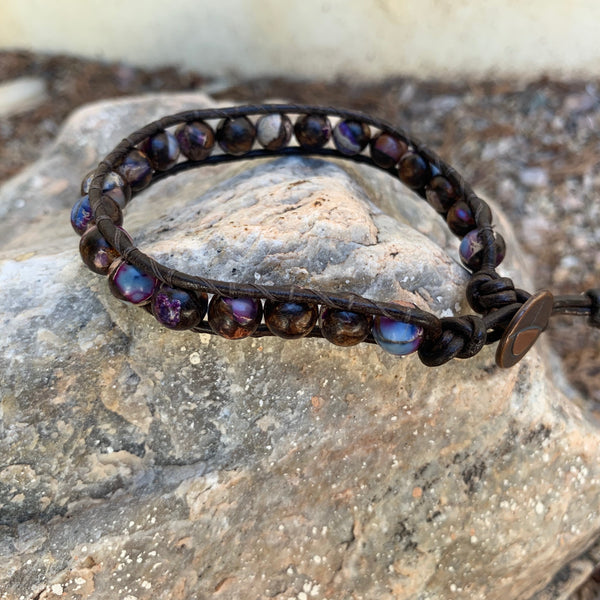 Unisex/Men's - Purple Bronzite Impression Jasper Single Wrap Bracelet
