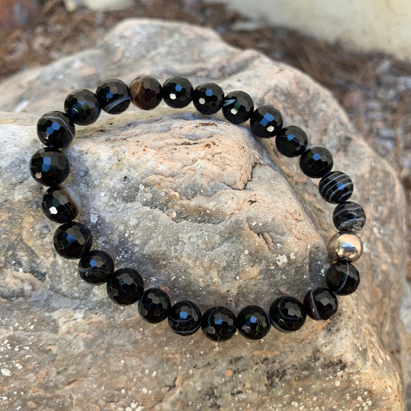 Unisex/Men's - Faceted Sardonyx