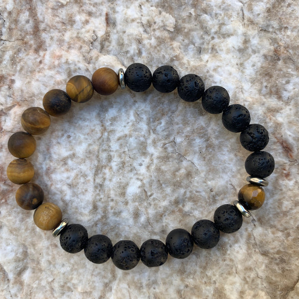 Unisex/Men's - Black Lava and Matte Tiger Eye