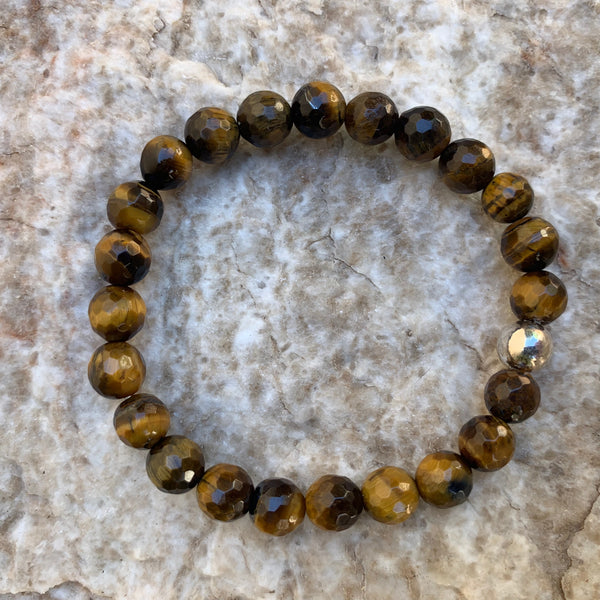 Unisex/Men's - Faceted Tiger Eye
