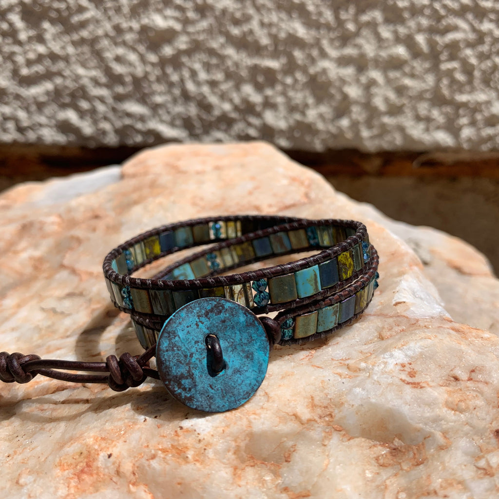 2-Wrap Bracelet - Peacock Tila Beads Brown Leather Version 2