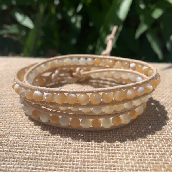 3-Wrap Bracelet - Mother of Pearl