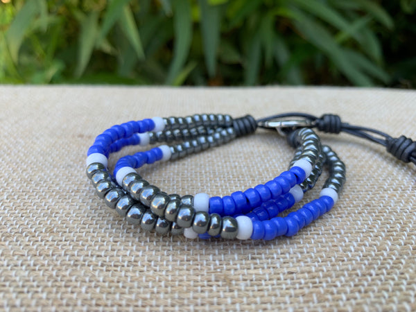 4 Strand Seed Bead Bracelet - Periwinkle and Dark Grey Pearl