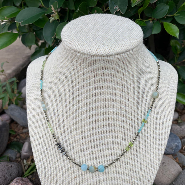 Just a Little Bit Necklace - Amazonite and Peridot