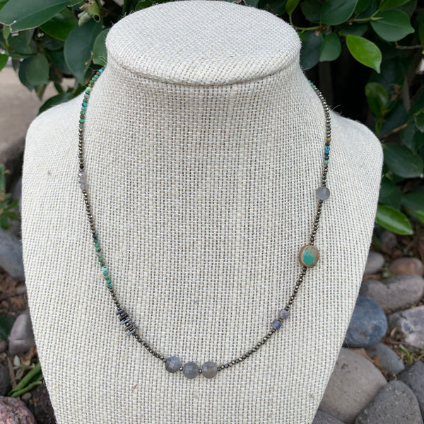Just a Little Bit Necklace - Labradorite and Turquoise