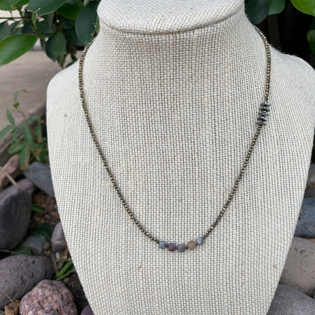 Just a Little Bit Necklace - Ruby  Sapphire