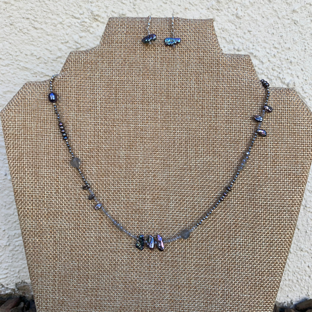 Just a Little Bit Necklace - Labradorite and Pearls