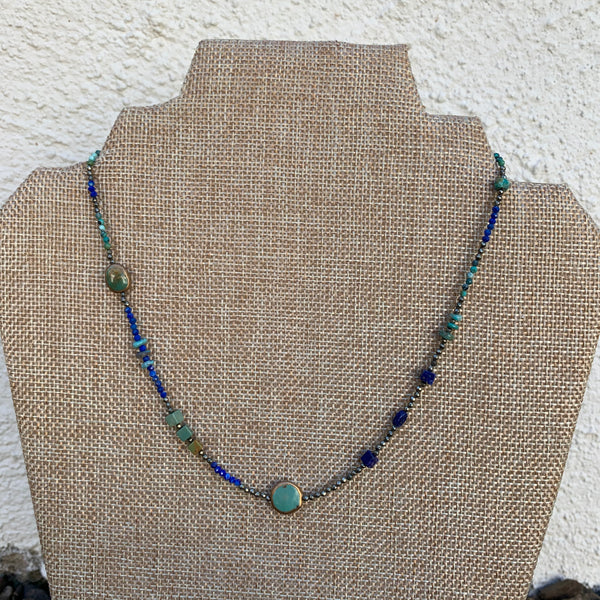 Just a Little Bit Necklace - Turquoise and Lapis