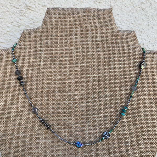 Just a Little Bit Necklace - Mixed Gems #4