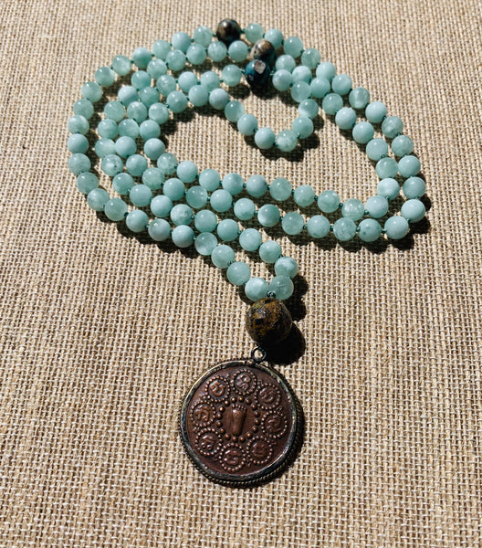 Green Angelite 108 Bead Mala Necklace
