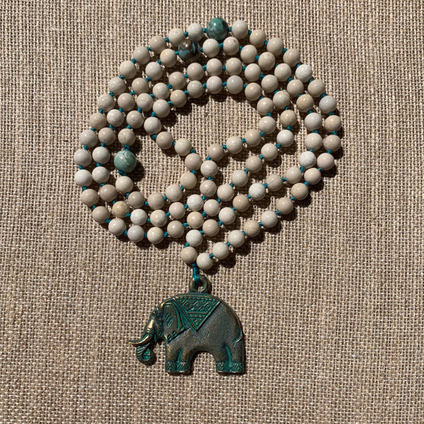 Riverstone 108 Bead Mala Necklace