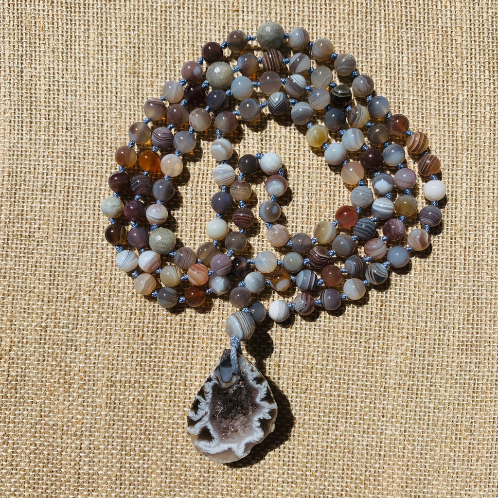 Botswana Agate 108 Bead Mala Necklace