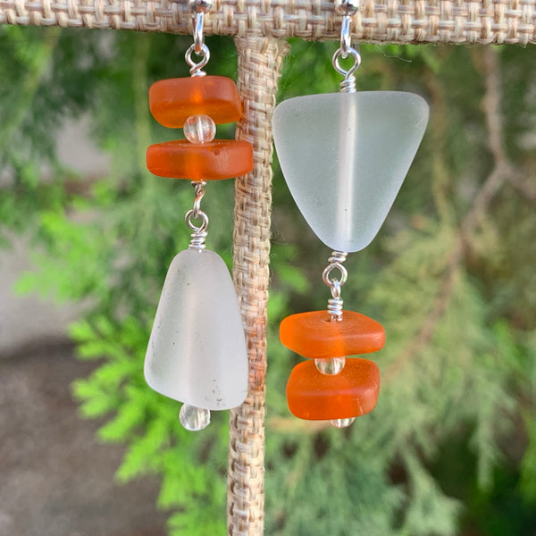 White and Orange Sea Glass Drop Earrings