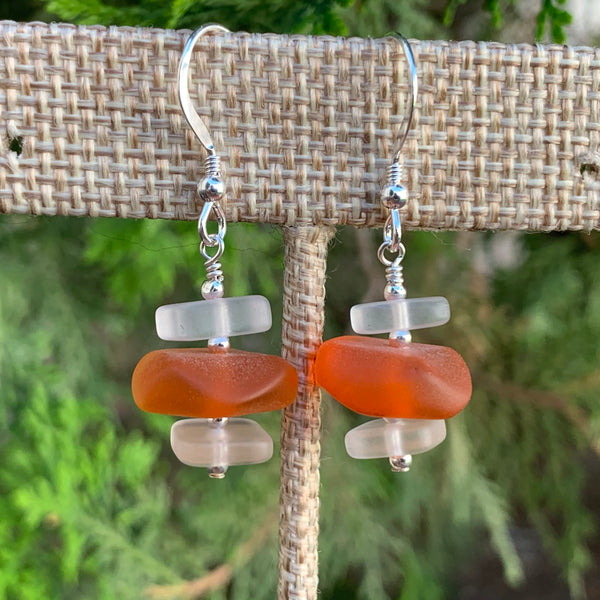 White and Orange Sea Glass Drop Earrings #2