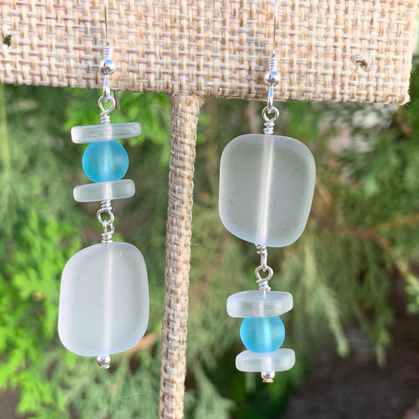 White with Blue Sea Glass Drop Earrings