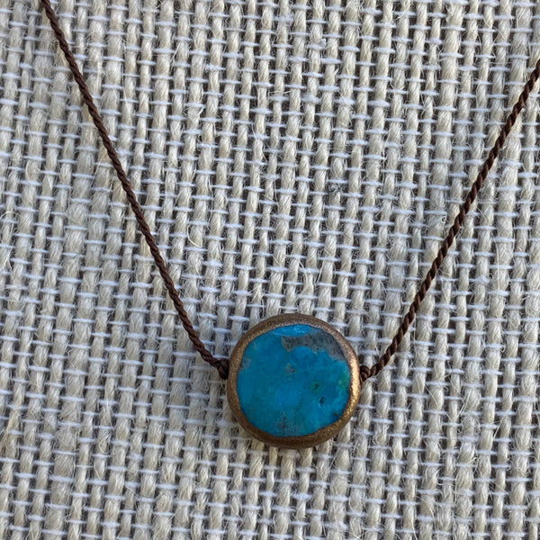 Gold Polished Turquoise - Silk Necklace