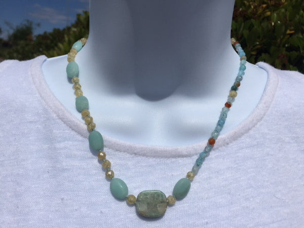 Visions of Aqua Knotted Necklace