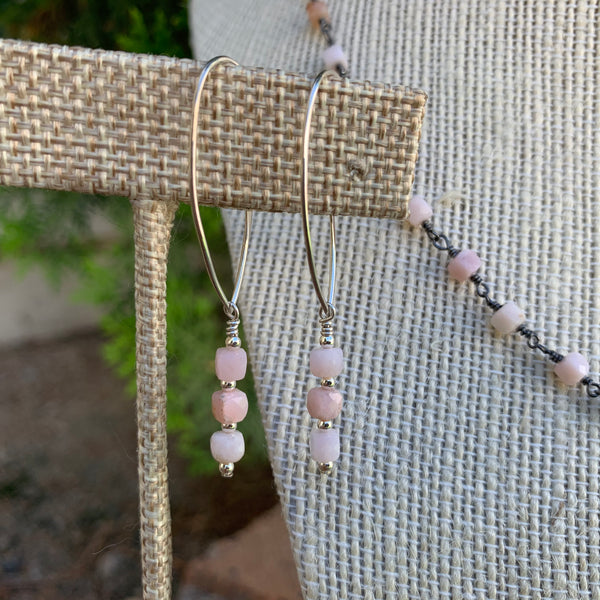 Gemstone Necklace - Pink Opal Cubes