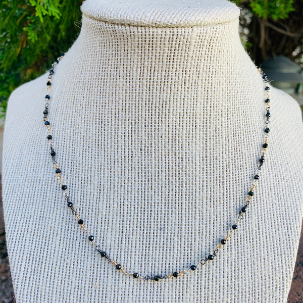 Multi Metal with Black Spinel Necklace