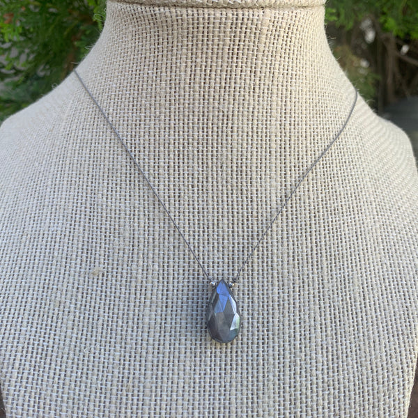 Silver Moonstone Simple Drop Necklace
