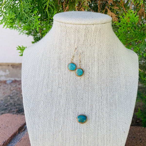 Gold Polished Turquoise - Illusion Necklace