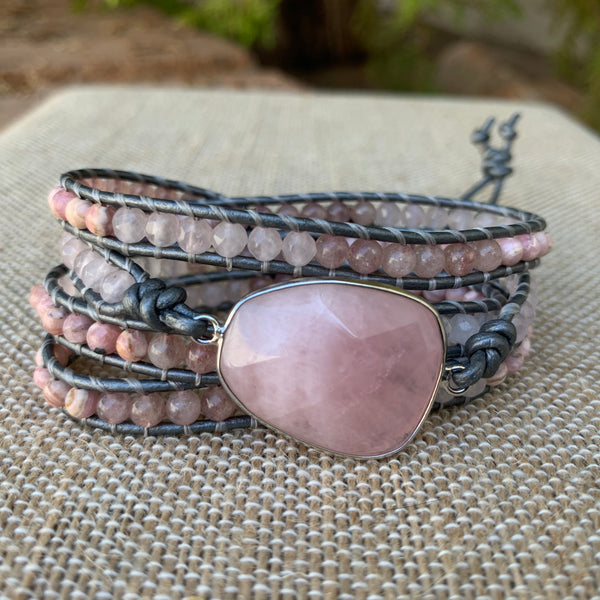 4-Wrap Bracelet - Rose Quartz Mix