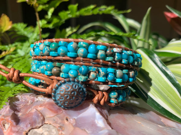 3-Wrap Bracelet - Staggered Aqua Impression Jasper #2