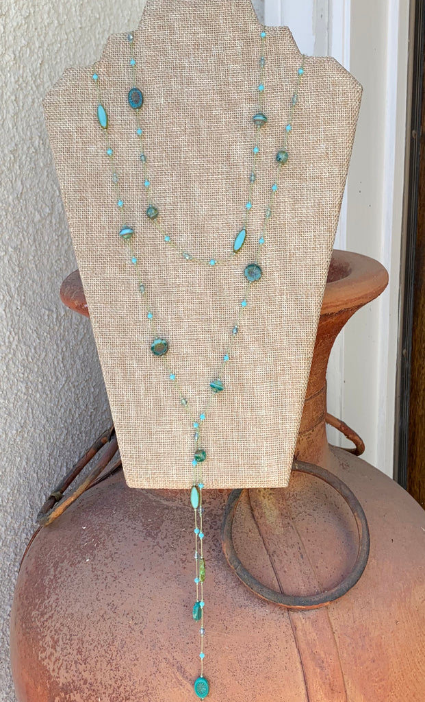 Floating  Beads  - Mixed Blue-green Lariat Necklace