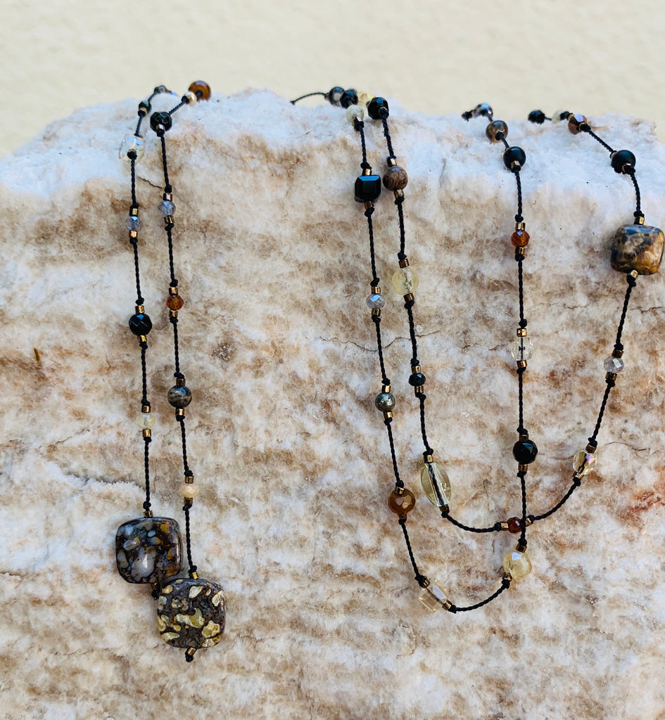 Floating  Beads  - Black & Bronzy Lariat Necklace