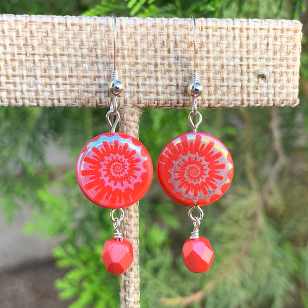 Czech Glass Coral Nautilus Earrings