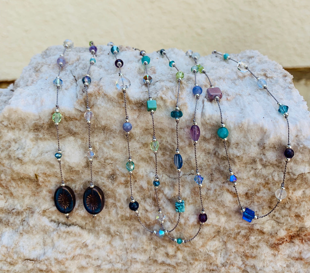 Floating  Beads  - Ocean shades Lariat Necklace