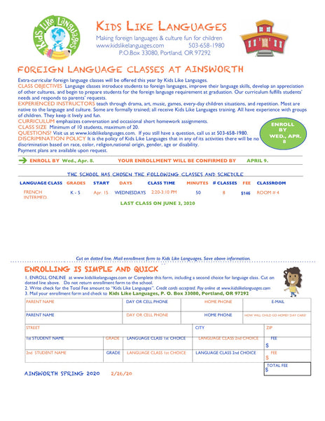 French  After School Classes at Ainsworth  School