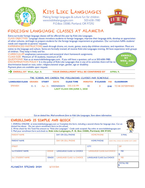 Spanish After School Classes at Alameda Elementary School