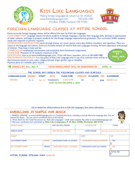 Spanish after school classes at Astor School