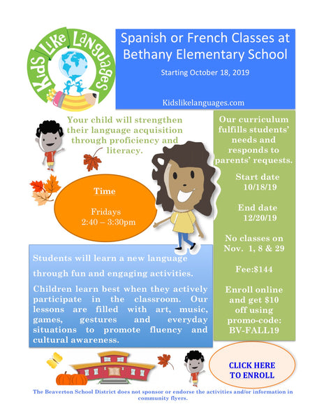French or Spanish After School Program at Bethany Elementary