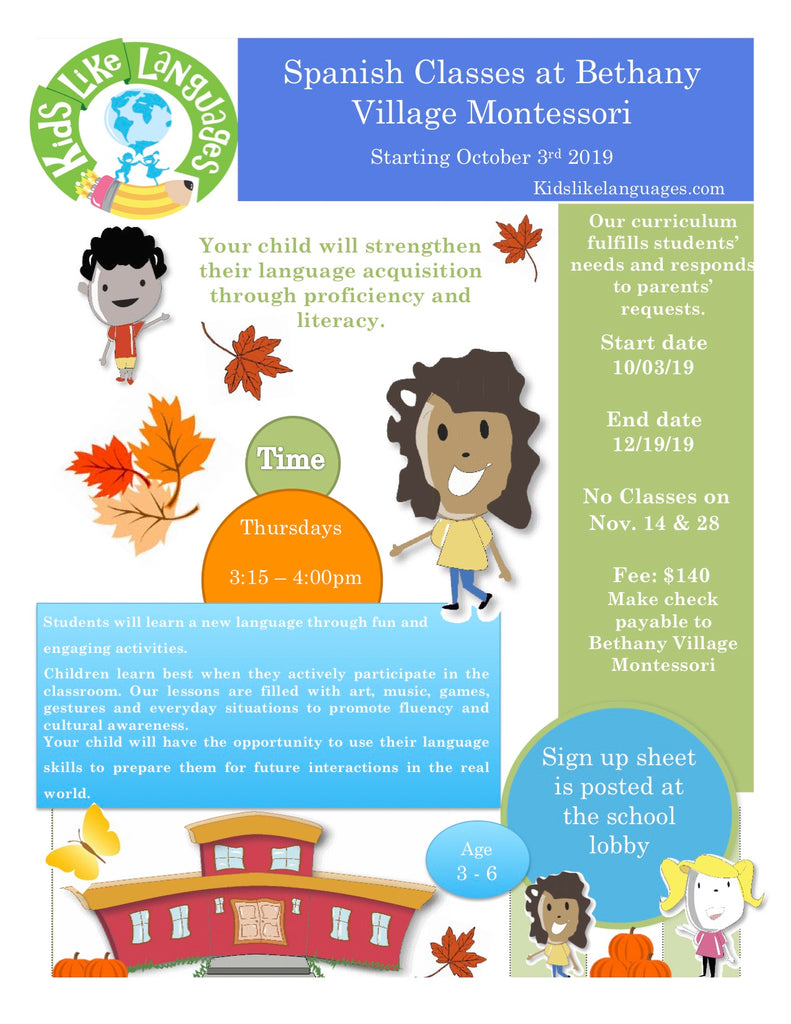 Spanish After School Program at Bethany Village Montessori School