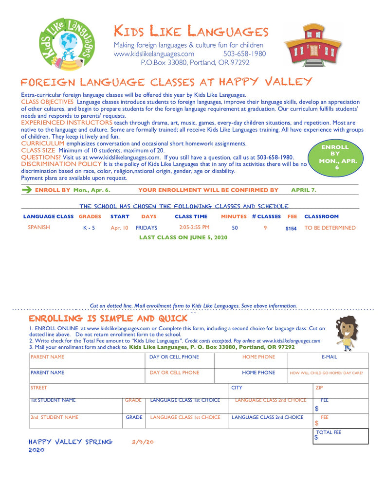 Spanish After School Program at Happy Valley Elementary School