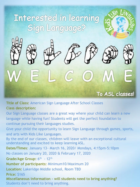 ASL After School Classes at Lakeridge Jr. High school