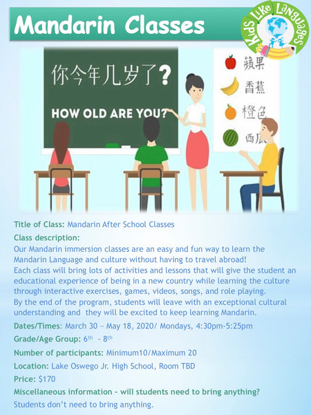 Mandarin classes at Lake Oswego Jr. High School
