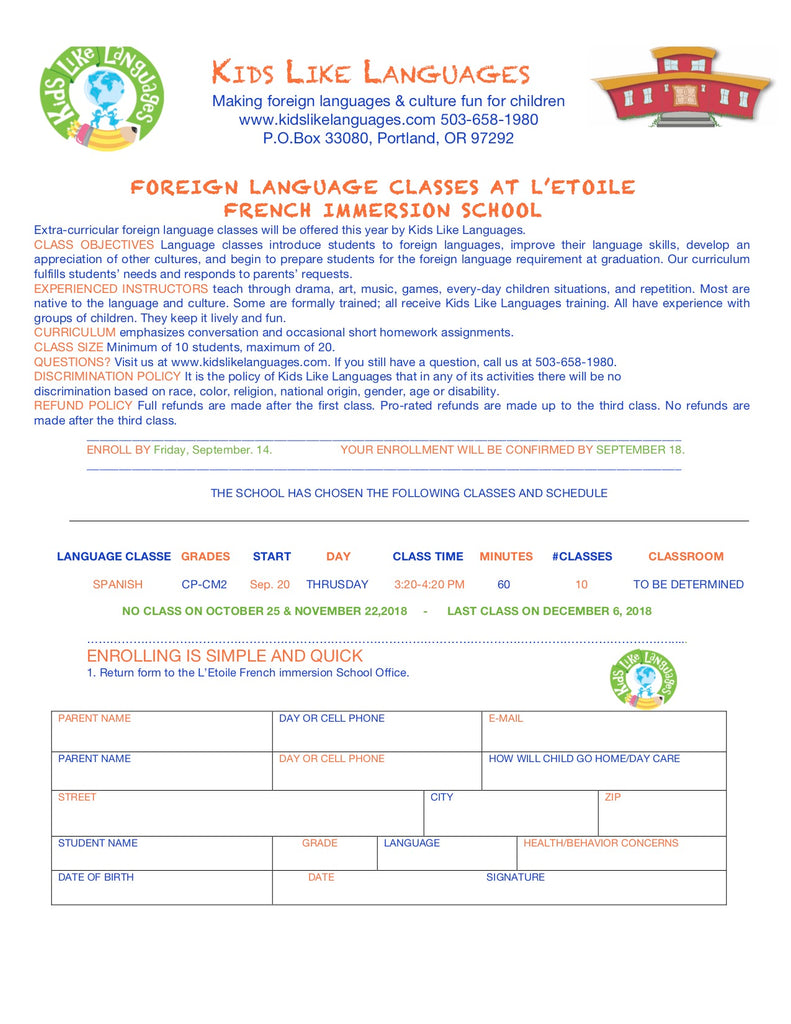 Spanish After School Classes at L'etoile French Immersion School