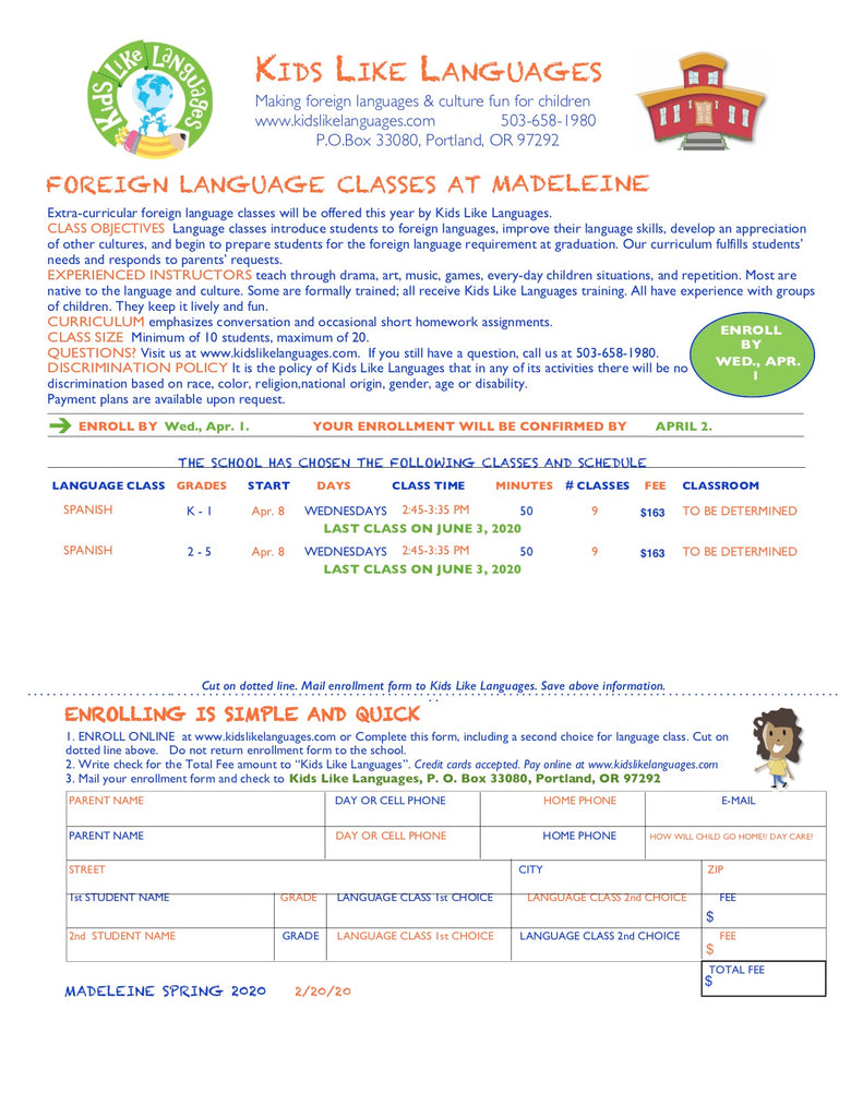 Spanish after school classes at Madeleine school