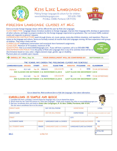 French and Spanish After school classes at Metropolitan Learning Center (MLC)