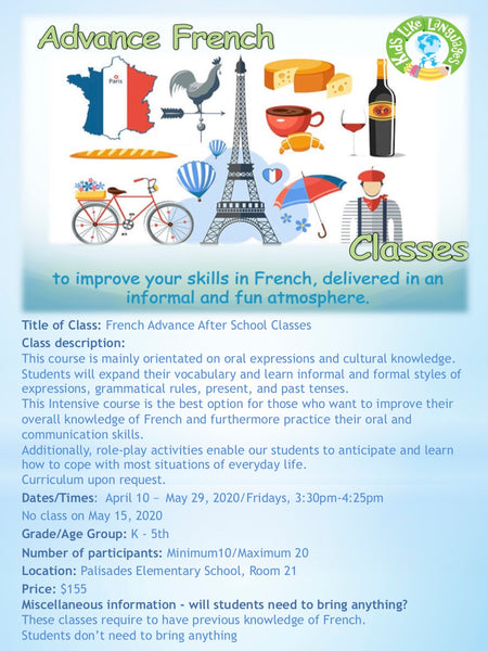 French Intermediate Classes at Palisades