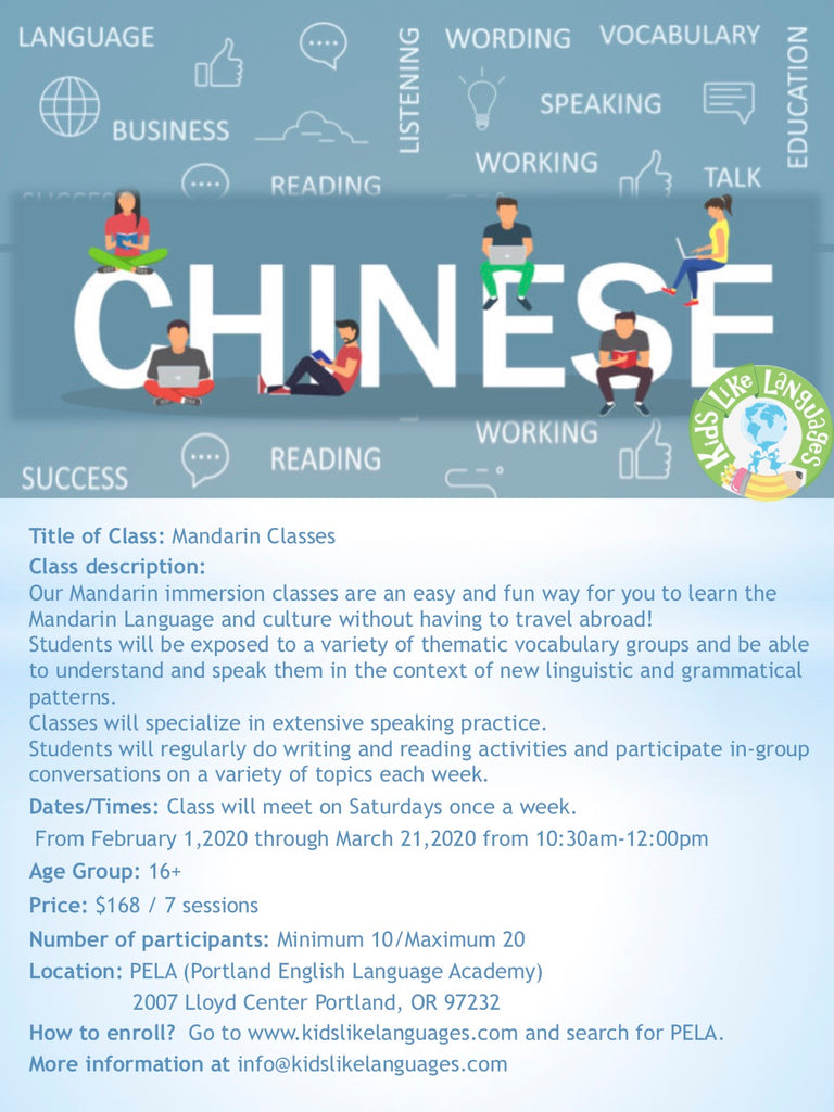 Mandarin classes at Pela (16+)