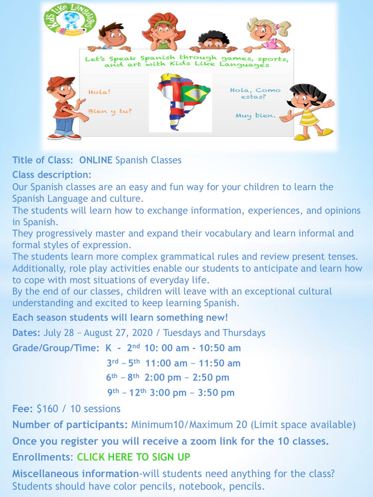 ONLINE Spanish after school classes at Redland Elementary school