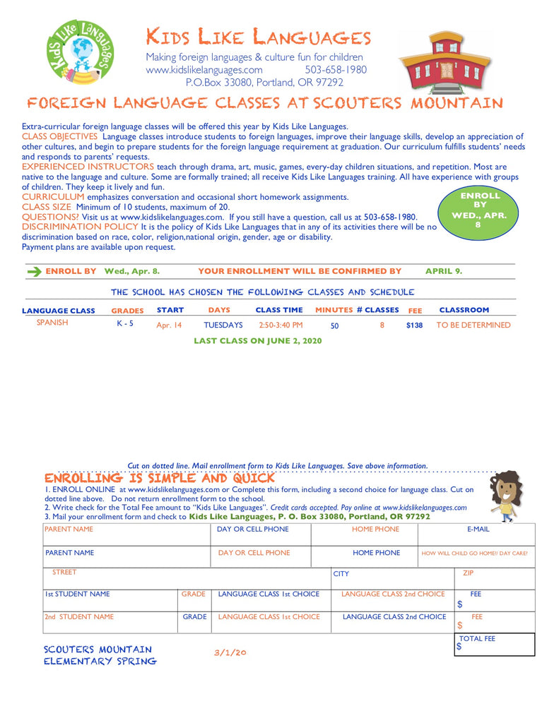 Spanish classes at Scouters Mountain