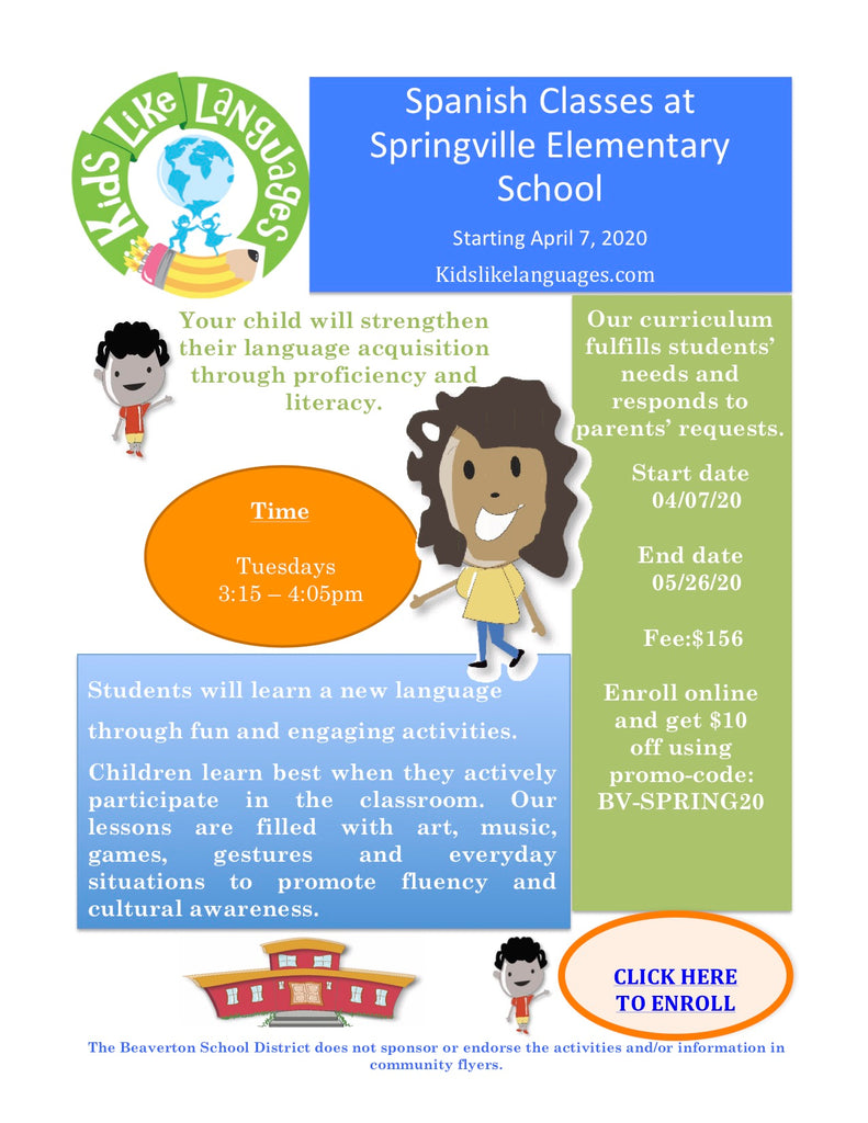 Spanish  After School Program at Springville Elementary School
